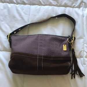 Coach purse with brown suede bottom